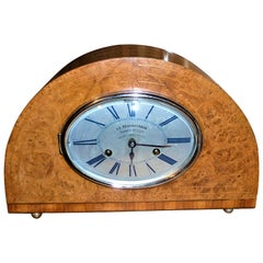 1930 Art Deco Dome French Mantel Table Desk Clock Thuya Burr Lemonwood Rosewood