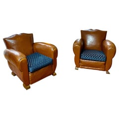 1930 Art Deco French Moustache Back Club Chairs, Christian Lacroix Cushions