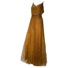 1930 Art Deco Golden Silk Net & Sequin Hollywood Starlet Gown