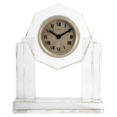 1930 Art Deco Modernist Baccarat Crystal Clock Original Mechanical Movement