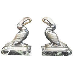 1930 Art Deco Pair of Bookend with Toucans by Frécourt