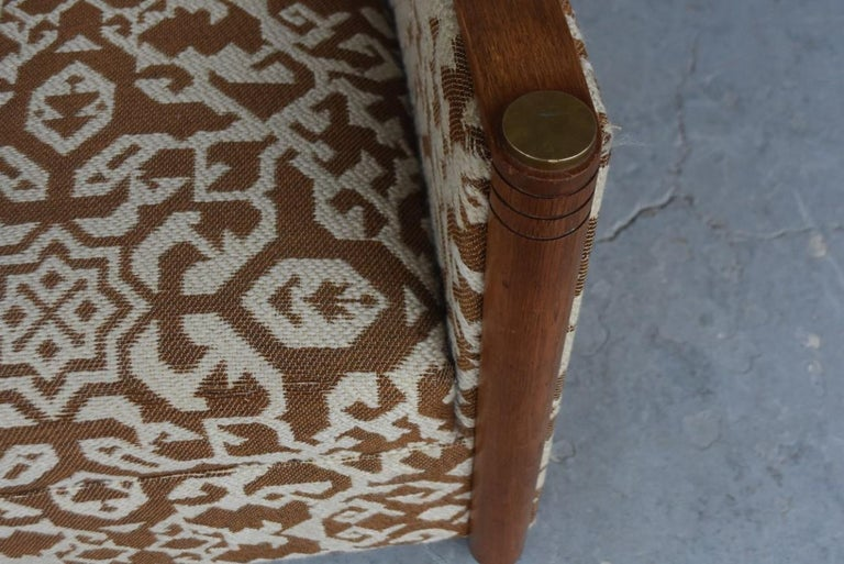 Oak 1930 Art Deco Pair of Wool Geometric Club Chairs by Auguste Vallin For Sale