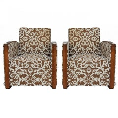 1930 Art Deco Pair of Wool Geometric Club Chairs by Auguste Vallin