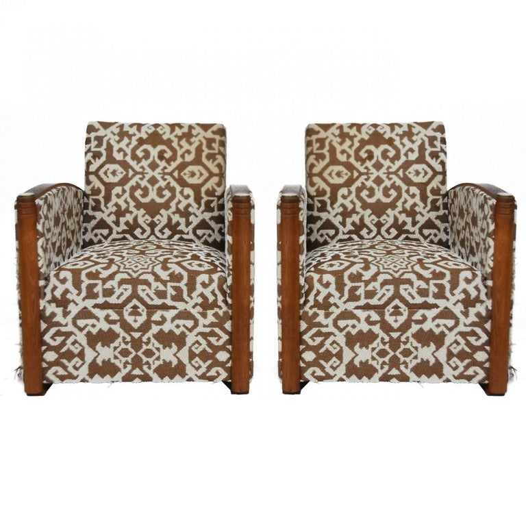 1930 Art Deco Pair of Wool Geometric Club Chairs by Auguste Vallin For Sale