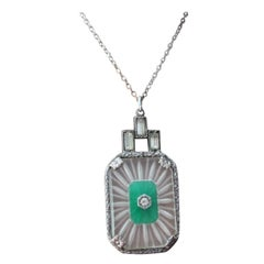1930 Art Deco Paste Jade Glass Drop Pendant Necklace Sautoir Silver Chain