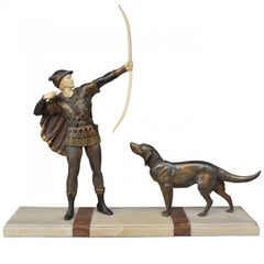1930 Art Deco Robin Hood Signed J. d'Arsenes Spelter with Polychromy