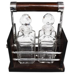 1930 Art Deco Style Display with 2 Crystal Whiskey Carafe
