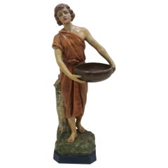 1930 Art Deco Terracotta Girl Statue, Czechoslovakia