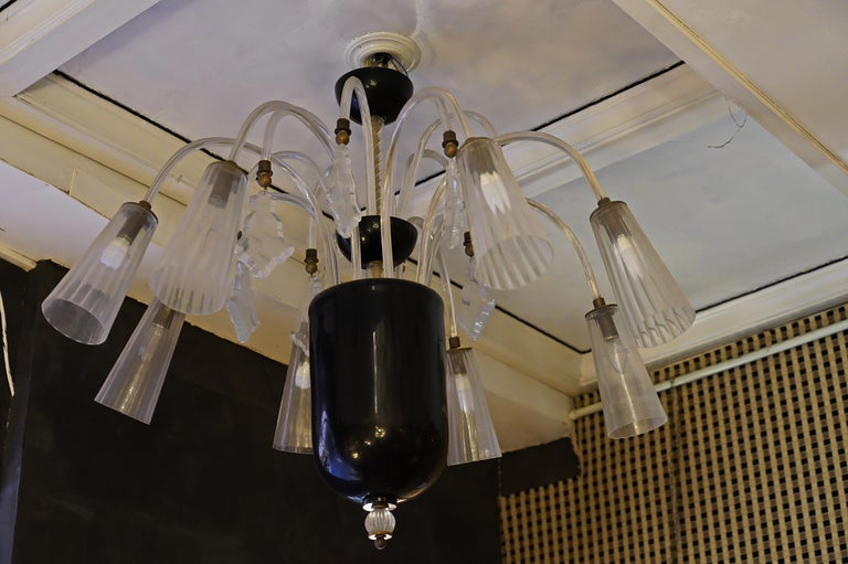 Barovier & Toso Murano Black and White Art Glass Chandeliers, 1930 For Sale 12