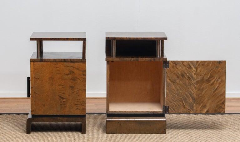 1930 Birch Art Deco Tiger Wood / Chrome Nightstands Attributed to Eliel Saarinen For Sale 5