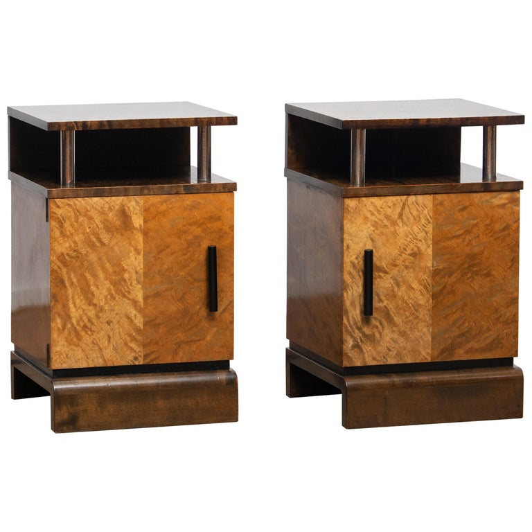 Beautiful and rare set of two Art Deco nightstands or bedside tables in