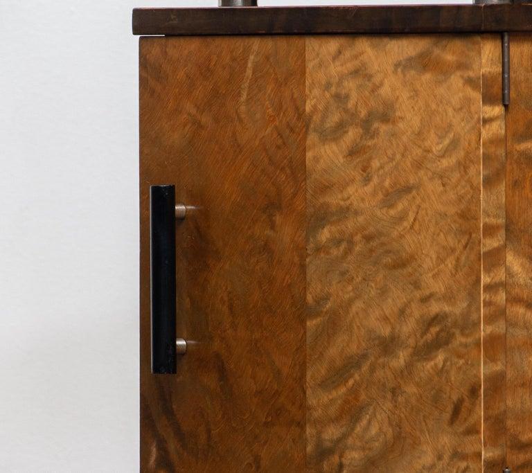 Finnish 1930 Birch Art Deco Tiger Wood / Chrome Nightstands Attributed to Eliel Saarinen For Sale