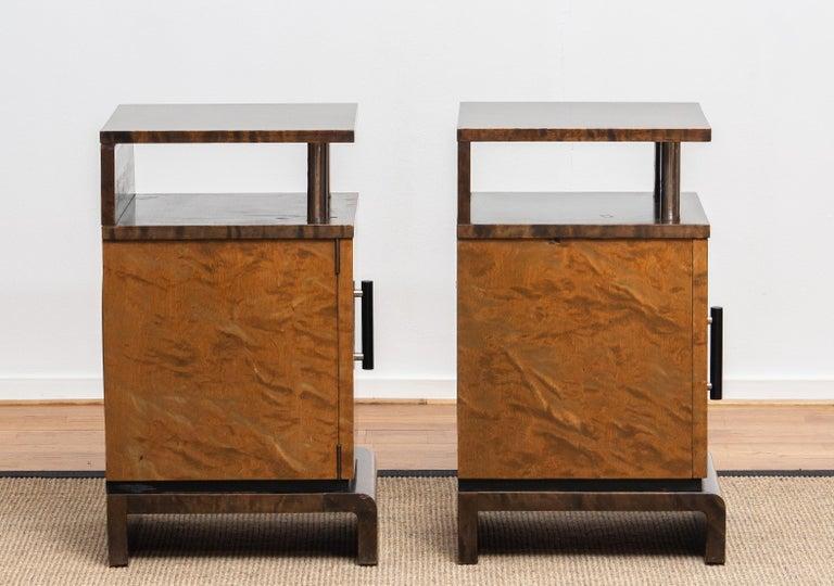 Mid-20th Century 1930 Birch Art Deco Tiger Wood / Chrome Nightstands Attributed to Eliel Saarinen For Sale