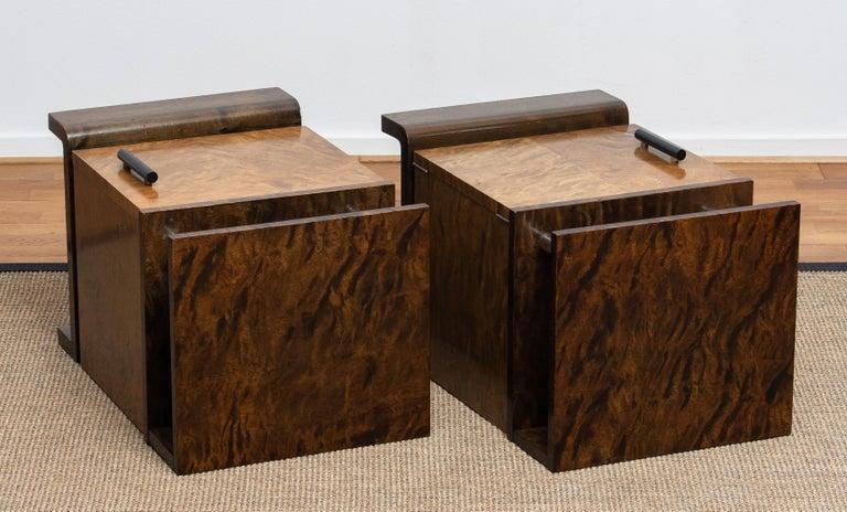 1930 Birch Art Deco Tiger Wood / Chrome Nightstands Attributed to Eliel Saarinen For Sale 1