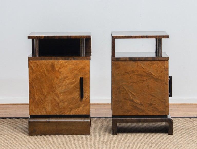1930 Birch Art Deco Tiger Wood / Chrome Nightstands Attributed to Eliel Saarinen For Sale 2