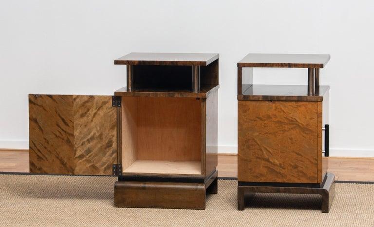 1930 Birch Art Deco Tiger Wood / Chrome Nightstands Attributed to Eliel Saarinen For Sale 3