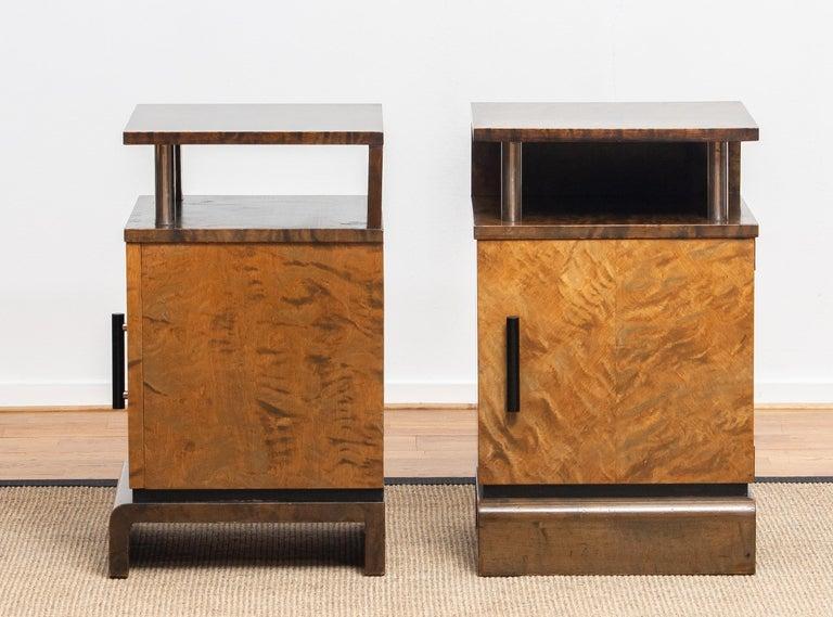 1930 Birch Art Deco Tiger Wood / Chrome Nightstands Attributed to Eliel Saarinen For Sale 4