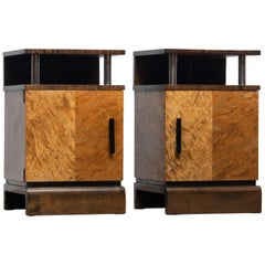 1930 Birch Art Deco Tiger Wood / Chrome Nightstands Attributed to Eliel Saarinen