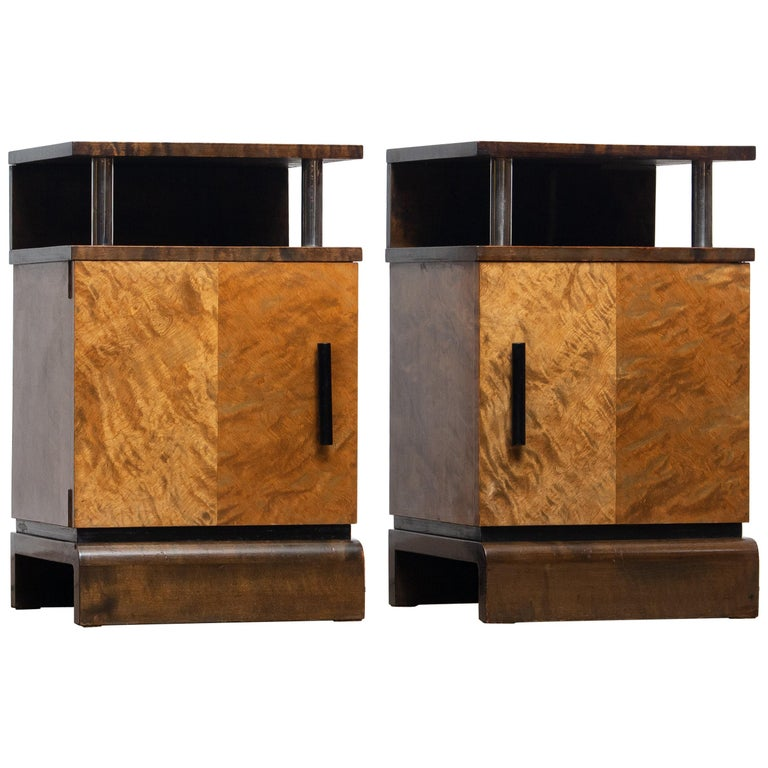1930 Birch Art Deco Tiger Wood / Chrome Nightstands Attributed to Eliel Saarinen For Sale
