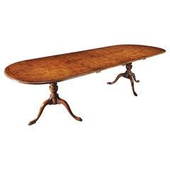 1930 Burr Walnut Twin Pedestal Extending Two Leaf Dining Table