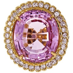 19.30 Carat Bright Pink Oval Kunzite Diamond Halo Gold Cocktail Ring