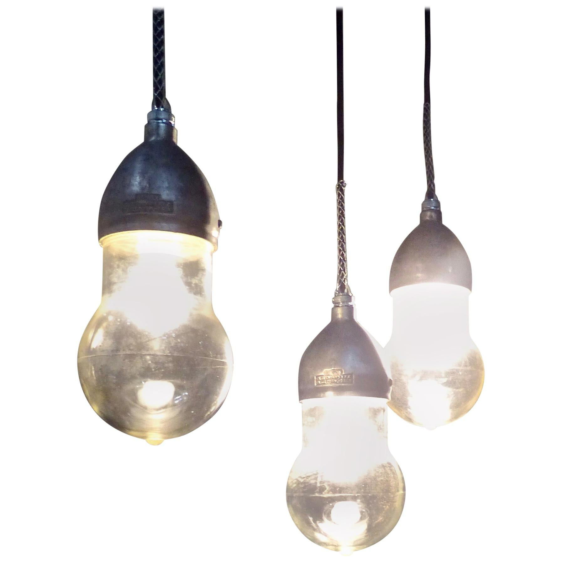 1930 Crouse Hinds Industrial Pendants Lights with 'Teardrop' Shades