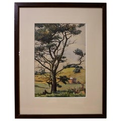 "1930 English Watercolor ""New Lawn Sussex"" by D. Cox"