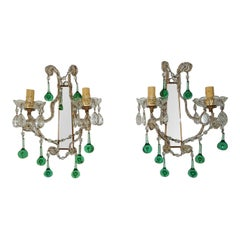1930 French Beaded Emerald Green Murano Drops Mirrors Sconces