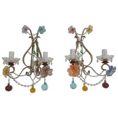1930 French Beaded Murano Colourful Mirrors and Flowers Beaded Swags Sconces
