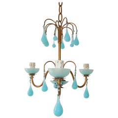 1930 French Blue Opaline Bobeches, Beads and Drops Chandelier