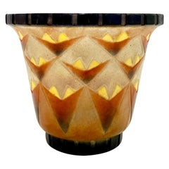 1930 Gabriel Argy-Rousseau Vase à Palmettes Triangulaires Pate de Verre Glass