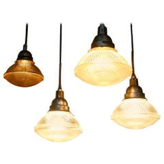 1930 Holophane Dust Tight Glass Industrial Pendant Light