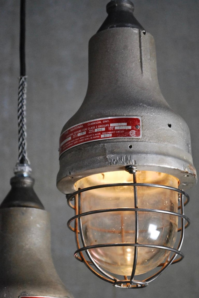 We have three rewired -Appleton explosion proof lights, ideal for any setting. Appleton Electric Co. Was started in the 1920s in Chicago. Set on black cable, rewired and CSA approved for easy install.