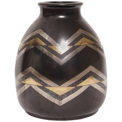 1930, Jean Luce, Black and Gilt Glazed Stoneware Art Deco Chevrons Vase