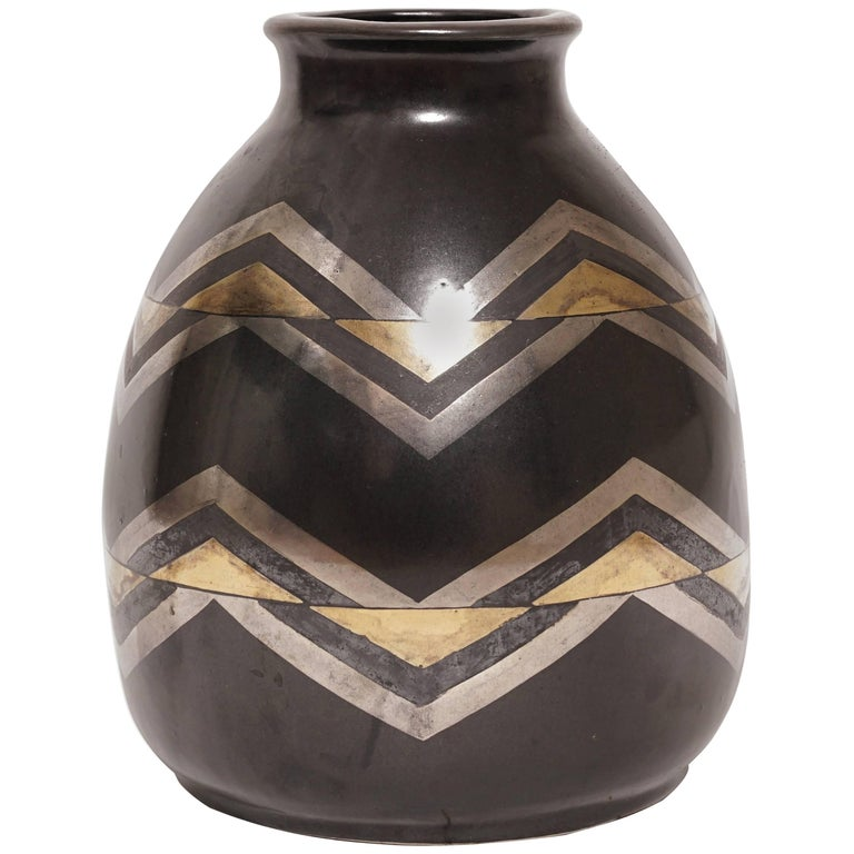 1930, Jean Luce, Black and Gilt Glazed Stoneware Art Deco Chevrons Vase For Sale