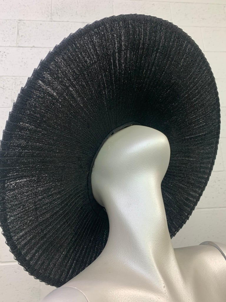 1930 Lilly Dache Paris Black Spiral Horsehair Ribbon Picture Hat & Wire Brim  For Sale 6