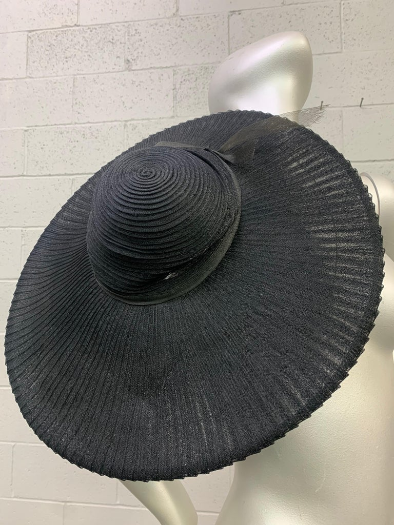 1930 Lilly Dache Paris Black Spiral Horsehair Ribbon Picture Hat & Wire Brim  For Sale 7