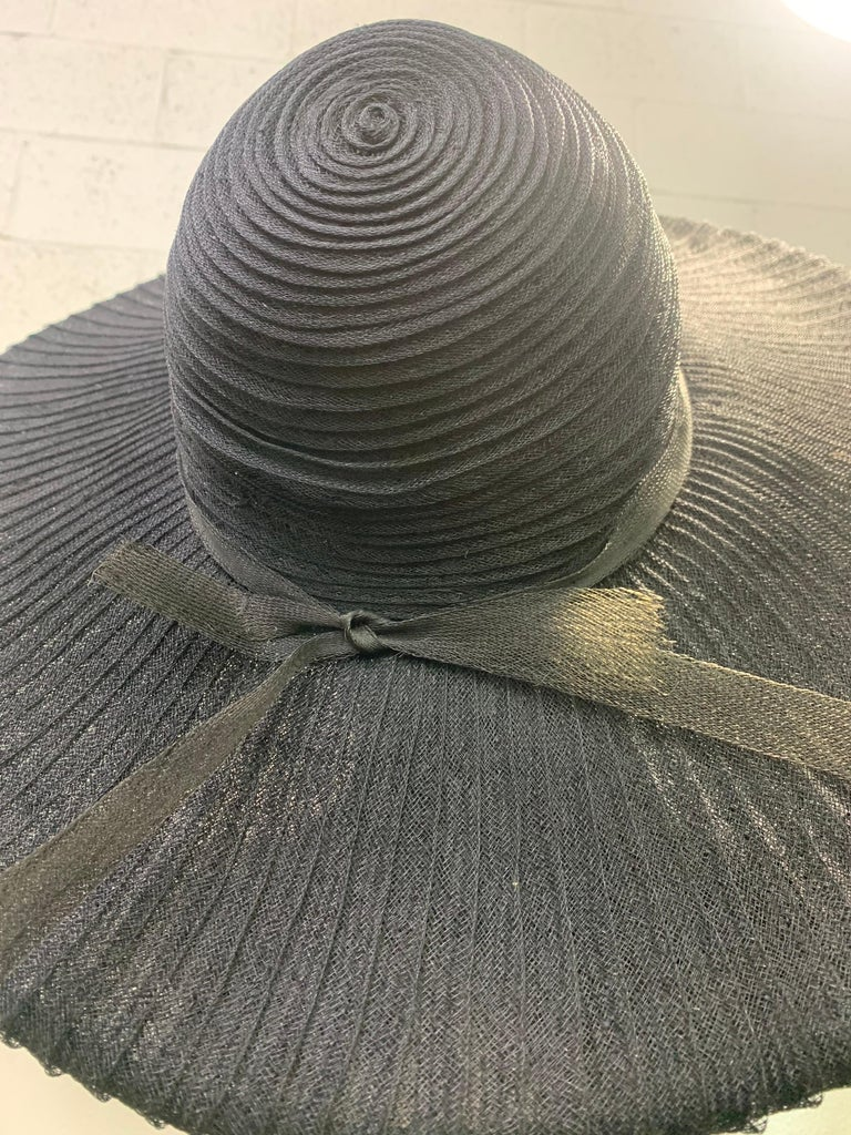 1930 Lilly Dache Paris Black Spiral Horsehair Ribbon Picture Hat & Wire Brim  In Excellent Condition For Sale In San Francisco, CA