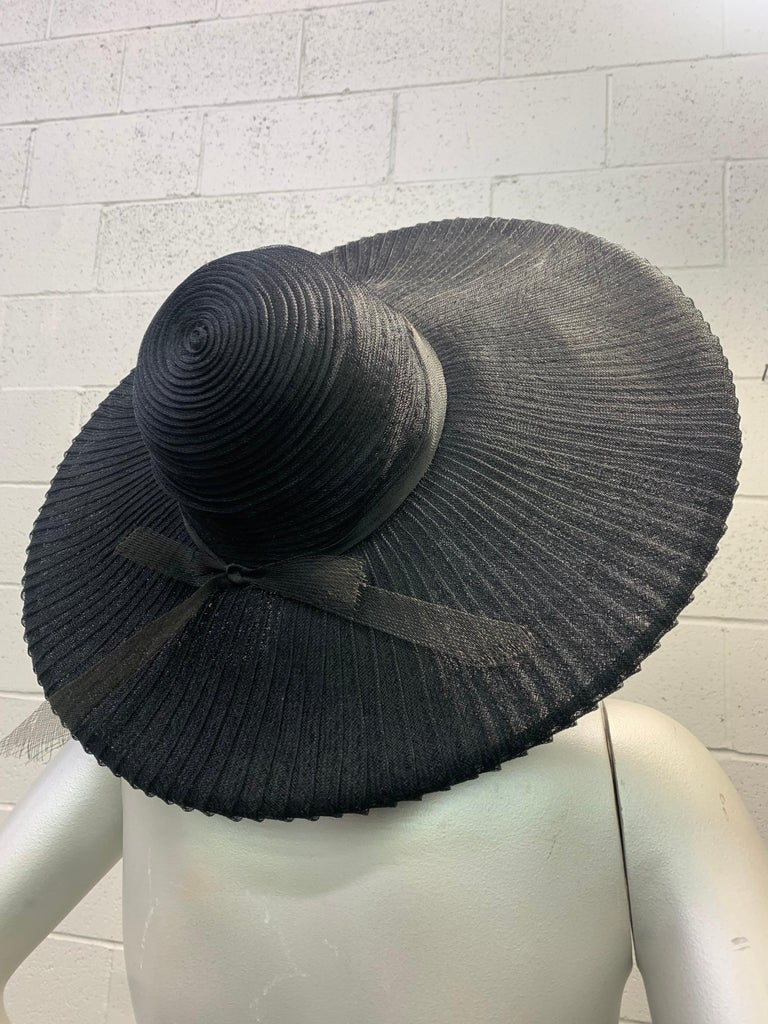 Women's 1930 Lilly Dache Paris Black Spiral Horsehair Ribbon Picture Hat & Wire Brim  For Sale