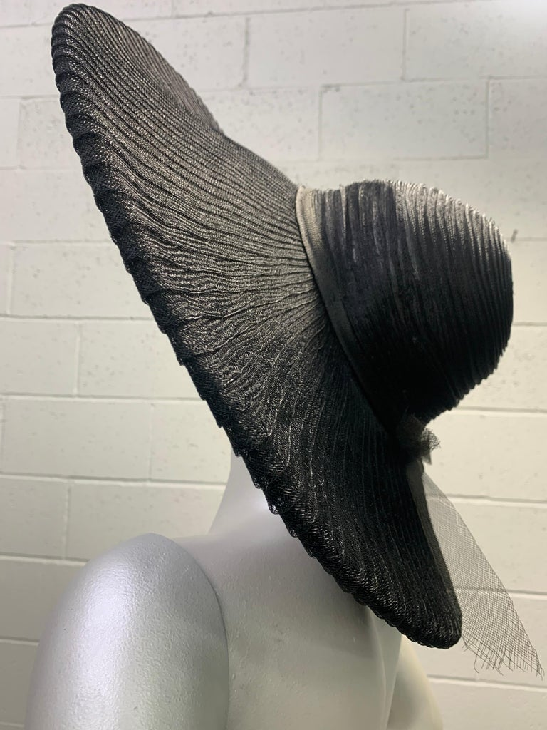 1930 Lilly Dache Paris Black Spiral Horsehair Ribbon Picture Hat & Wire Brim  For Sale 1