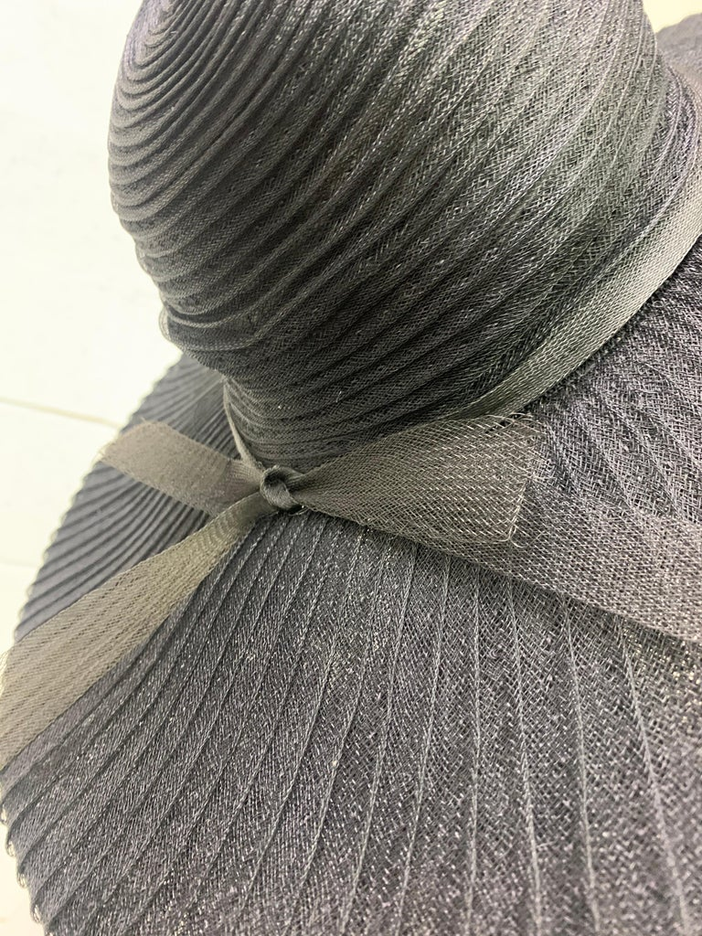 1930 Lilly Dache Paris Black Spiral Horsehair Ribbon Picture Hat & Wire Brim  For Sale 5