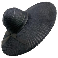 1930 Lilly Dache Paris Black Spiral Horsehair Ribbon Picture Hat & Wire Brim