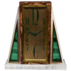 1930 Modernist Art Deco Pendulum Onyx and Malachite