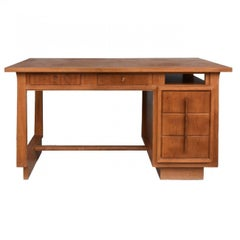 1930 Oak Desk Office Art Deco Style Auguste Vallin
