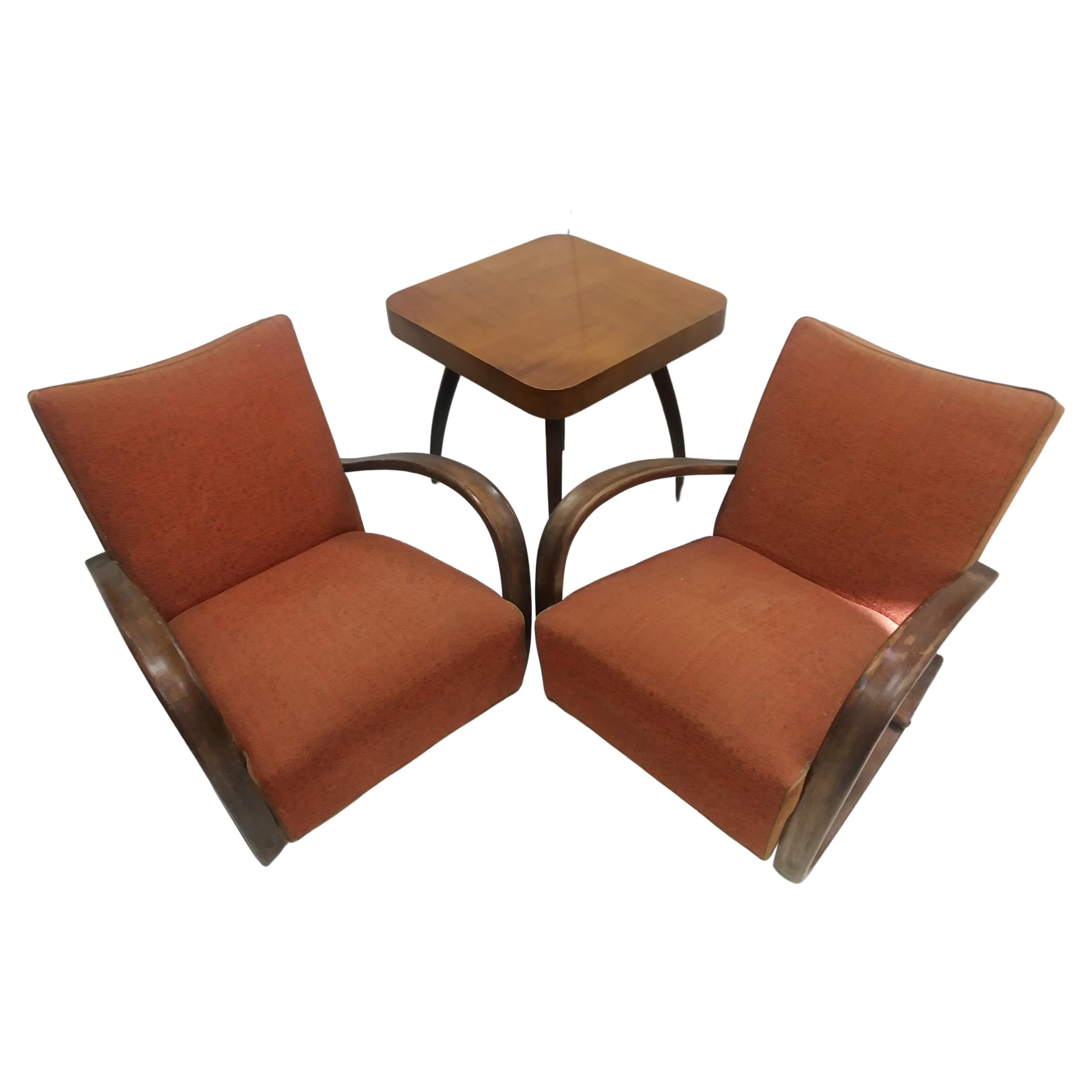 1930 Pair of Armchairs + Spider Table, by Halabala for Thonet, Czechoslovakia