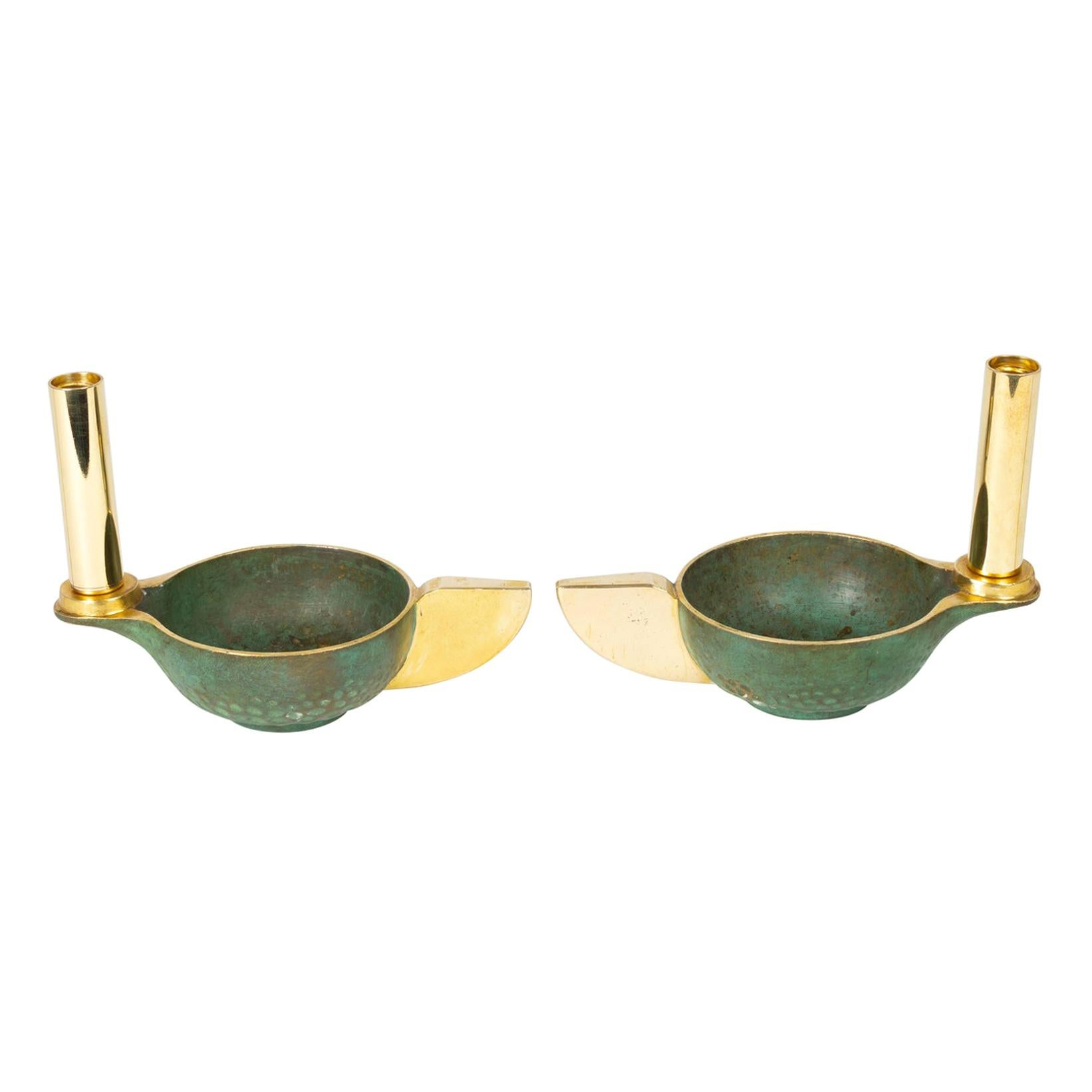 1930 Pair of Bronze Lamps Attributed to André Arbus