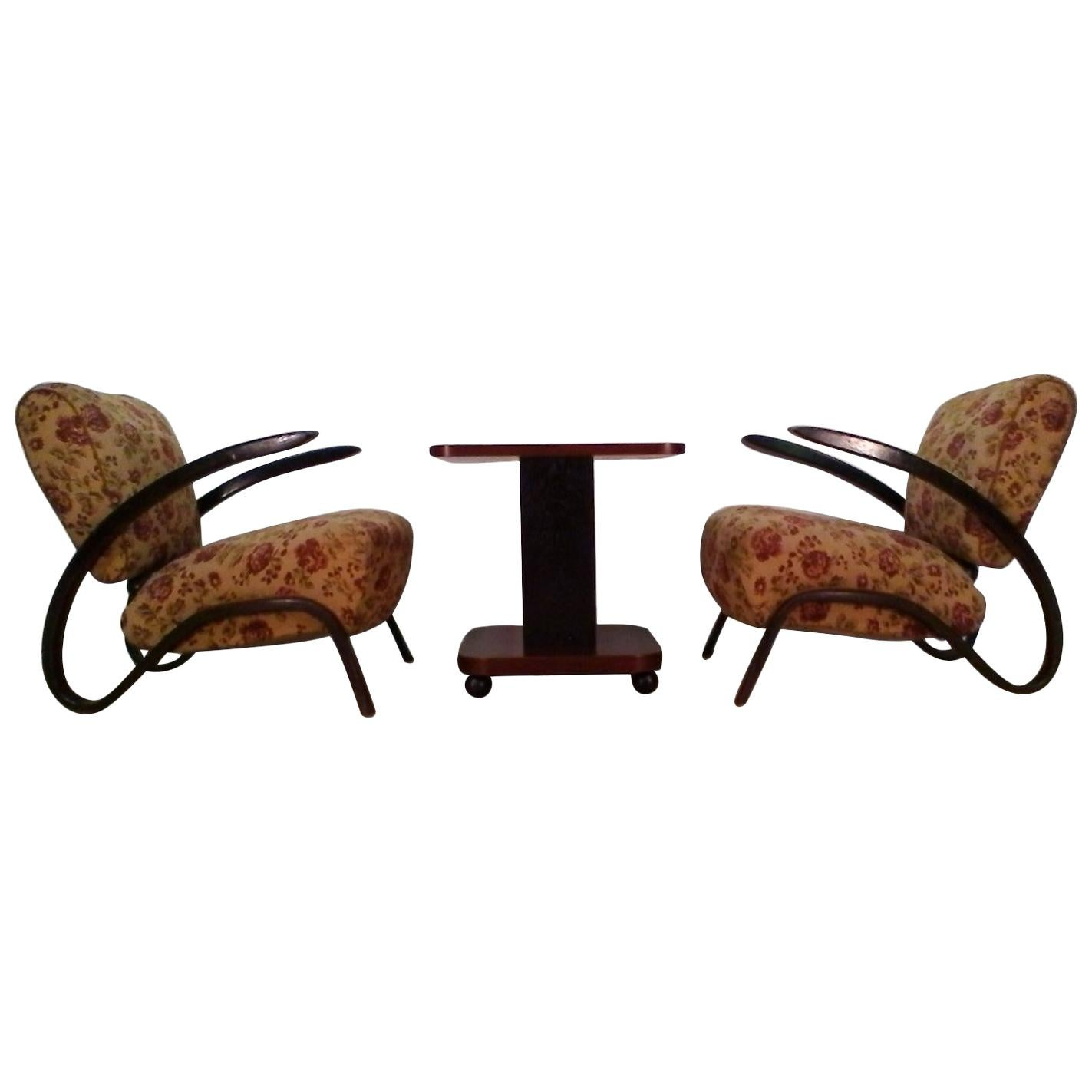 1930 Pair of Rare Jindrich Halabala H-275 Art Deco Armchairs and Coffee Table