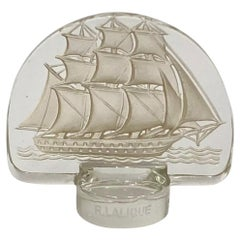 1930 René Lalique Caravelle Seal Clear Glass Sepia Patina, Ship Boat