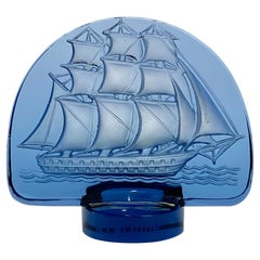 1930 René Lalique Caravelle Seal Navy Blue Glass, Ship Boat