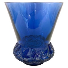 1930 René Lalique Lierre Vase in Navy Blue Glass White Patina, Ivy